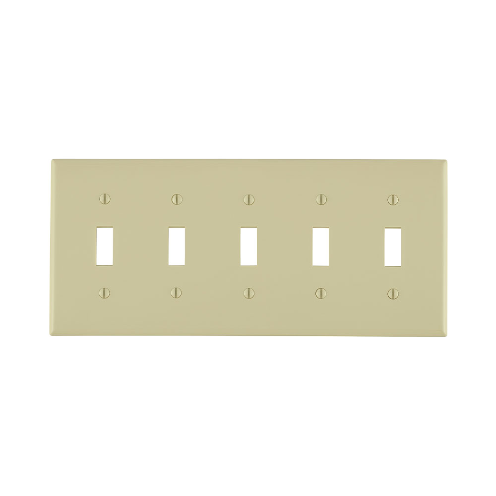 Leviton 80723-I 5-Gang Toggle Device Mount Switch Standard Size Thermoplastic Nylon Ivory Wallplate