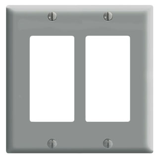 Leviton 80409-GY 4.56 x 0.22 x 4.5 Inch 2-Gang Smooth Gray Thermoset Device Mount Standard Receptacle Wallplate