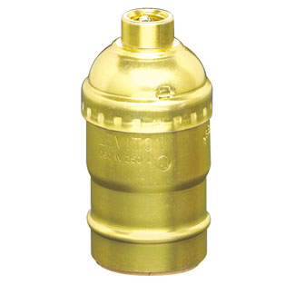 Medium Base Complete, Aluminum Shell Incandescent Lampholder, Keyless, Single Circuit, 1/8 IPS Tapped Bushing w/Set Screw, - Brass