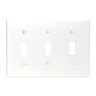 Leviton 88011 6.38 x 0.22 x 4.5 Inch 3-Gang Smooth White Thermoset Device Mount Standard Toggle Switch Wallplate