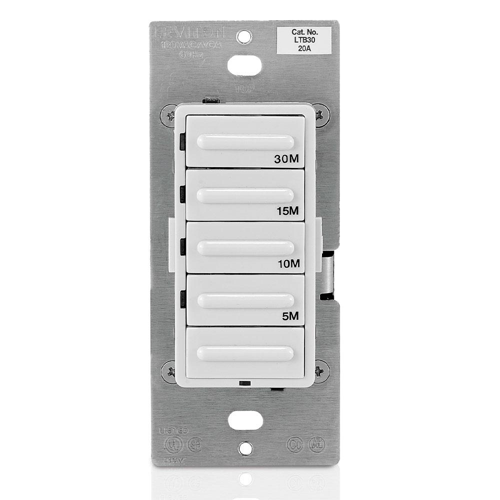 Leviton LTB30-1LZ 120 VAC 20 Amp 1800 W 1-Pole 3-Way White/Ivory/Light Almond 5-Button Preset Countdown Electronic Timer Switch
