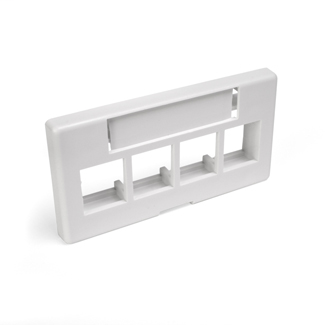 QuickPort Modular Furniture Faceplate, 4-Port, White