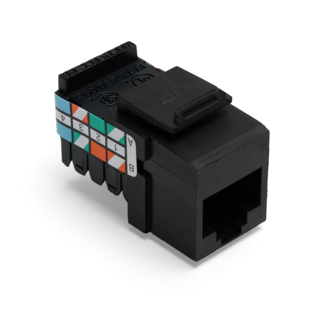 Leviton 41108-RE3 Category 3 Black Plastic Snap-In 8-Position 8-Conductor UTP Jack Connector
