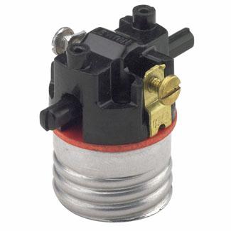 Medium Base Interior Only, Shell Incandescent Lampholder, Push-Through, Single Circuit, -