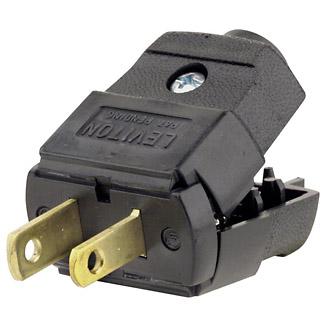 Plug, Straight Blade, Residential Grade, 15 Amp, 125 Volt, NEMA 1-15P, 2-Pole, 2-Wire, Polarized, Non-Grounding - Black