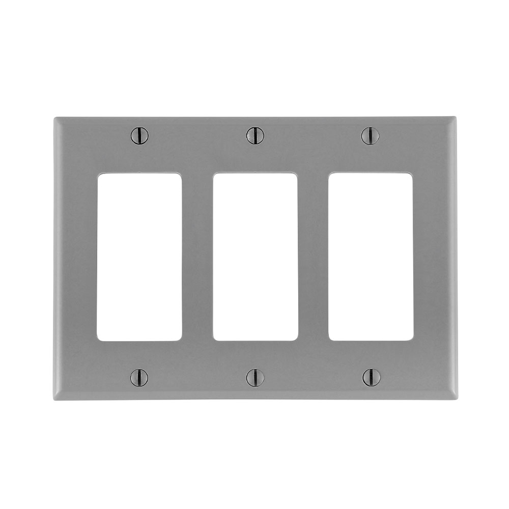 Leviton 80411-GY 6.38 x 0.22 x 4.5 Inch 3-Gang Smooth Gray Thermoset Device Mount Standard Receptacle Wallplate