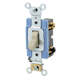 15 Amp, 120/277 Volt, Toggle 3-Way AC Quiet Switch, Extra Heavy Duty Spec Grade, Self Grounding, Back Wired - IVORY