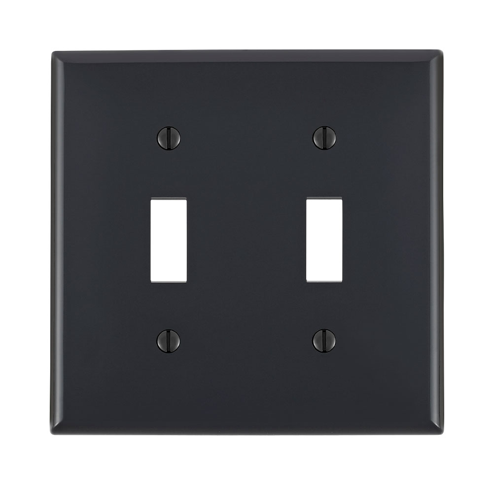 2-Gang Toggle Device Switch Wallplate, Standard Size, Thermoplastic Nylon, Device Mount, - Black