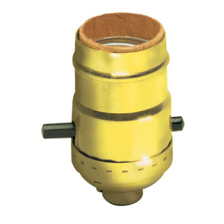 Incandescent lampholder, metal shell, medium base, 660W-250V; push bar, electrolie size; with cap and shell; cap less set screw; polished gilt finish.