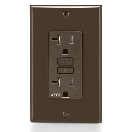 20 Amp, 125 Volt @Receptacle/Outlet, 20 Amp Feed-Through, Tamper-Resistant, AFCI Receptacle/Outlet, Monochromatic, back and side wired, nylon wallplate/faceplate, screws and self grounding clip included – Brown