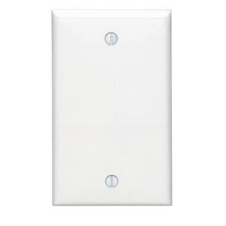 Leviton 80714-W 2.75 x 0.22 x 4.5 Inch 1-Gang Smooth White Thermoplastic Nylon Box Mount Standard Blank Wallplate