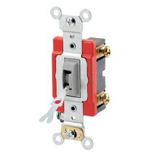 20 Amp, 120/277 Volt, Toggle Locking Single-Pole AC Quiet Switch, Industrial Grade, Self Grounding, Back & Side Wired, - Gray