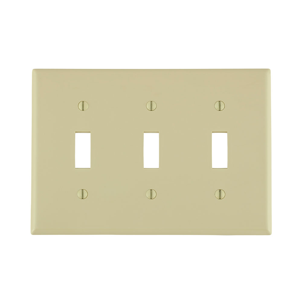 Leviton 80711-I 6.38 x 0.22 x 4.5 Inch 3-Gang Smooth Ivory Thermoplastic Nylon Device Mount Standard Toggle Switch Wallplate
