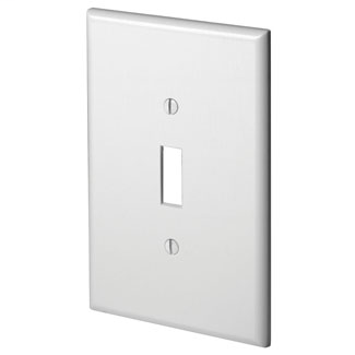 Leviton 88101 3.5 x 0.255 x 5.25 Inch 1-Gang Smooth White Thermoset Device Mount Oversize Toggle Switch Wallplate