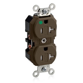 Duplex Receptacle Outlet, Extra Heavy-Duty Hospital Grade, Tamper-Resistant, Smooth Face, 20 Amp, 125 Volt, Back or Side Wire, NEMA 5-20R, 2-Pole, 3-Wire, Self-Grounding - Brown