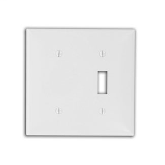 Leviton 80706-I 2-Gang 1-Toggle 1-Blank Device Standard Size Thermoplastic Nylon Box Mount Ivory Combination Wallplate
