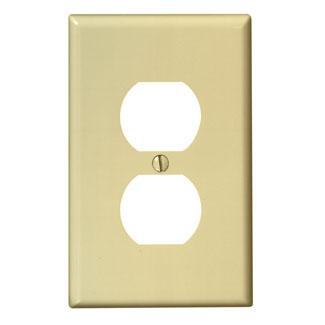 Leviton PJ8-E 1-Gang Midway Size Thermoplastic Nylon Device Mount Black Duplex Receptacle Wallplate