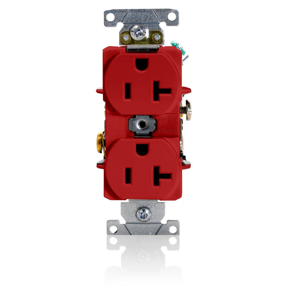Leviton 5362-SR 20 Amp 125 Volt NEMA 5-20R 2-Pole 3 Wire Heavy Duty Specification Grade Red Duplex Receptacle