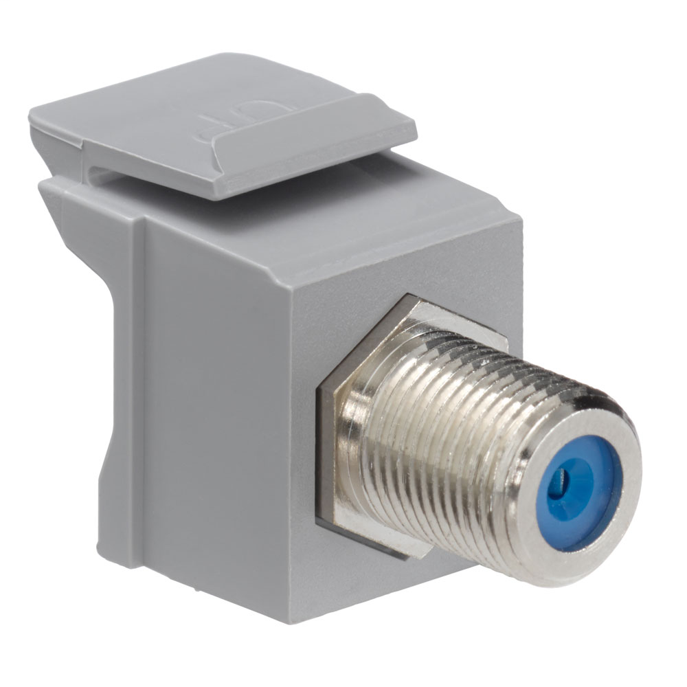 Leviton 41084-FGF 75 Ohm Nickel Plated Gray Plastic Female-to-Female Screw-On Feed-Through F-Connector