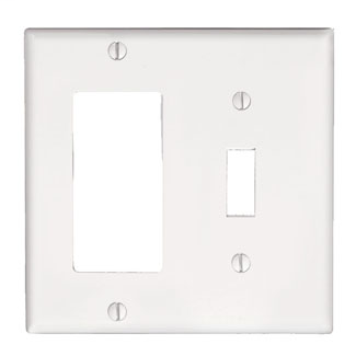 Leviton 80405-W 4.56 x 0.22 x 4.5 Inch 2-Gang Smooth White Thermoset Device Mount Standard Combination Wallplate