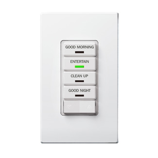 Vizia RF + 4-Button Remote Scene Controller, rated @ 120/240 VAC, 50/60HZ; z-wave enabled, White face assembled on device, color conversion kit included.