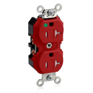 Duplex Receptacle Outlet, Extra Heavy-Duty Hospital Grade, Tamper-Resistant, Smooth Face, 20 Amp, 125 Volt, Back andSide Wire, NEMA 5-20R, 2-Pole, 3-Wire, Self-Grounding - Red