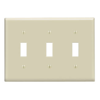 Leviton 86011 6.38 x 0.22 x 4.5 Inch 3-Gang Smooth Ivory Thermoset Device Mount Standard Toggle Switch Wallplate