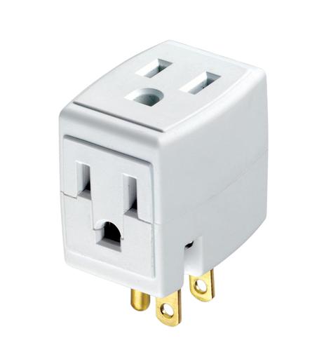 15 Amp, 125 Volt, NEMA 5-15R, 3-Wire, Grounded Triple Cube Tap - White