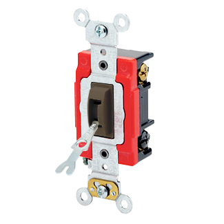 20 Amp, 120/277 Volt, Toggle Locking 3-Way AC Quiet Switch, Industrial Grade, Self Grounding, Back & Side Wired, - Brown