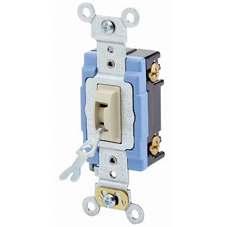 15 Amp, 120/277 Volt, Toggle Locking Single-Pole AC Quiet Switch, Industrial Grade, Self Grounding, Back & Side Wired, - Ivory
