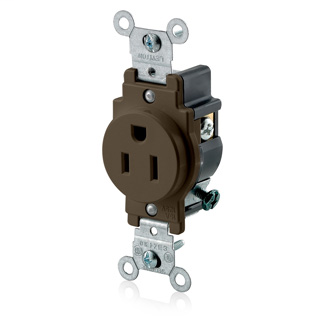 Leviton 5015 125 Volt 15 Amp 2-Pole 3-Wire NEMA 5-15R 1/2 Hp Brown Nylon Grounding Narrow Straight Blade Receptacle