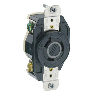 Leviton 2330 277 Volt 20 Amp 2-Pole 3-Wire NEMA L7-20R 2 Hp Black Nylon Grounding Flush Mount Locking Receptacle
