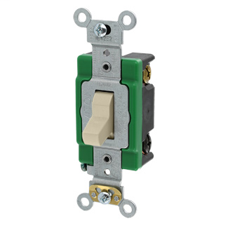 30 Amp, 120/277 Volt, Toggle 3-Way AC Quiet Switch, Extra Heavy Duty Spec Grade, Self Grounding, Back & Side Wired - IVORY