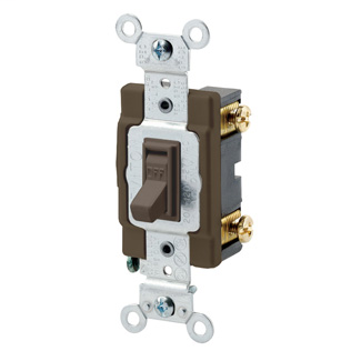 15 Amp, 120/277 Volt, Toggle Framed Single-Pole AC Quiet Switch, Commercial Grade, Grounding, Side Wired, - Brown