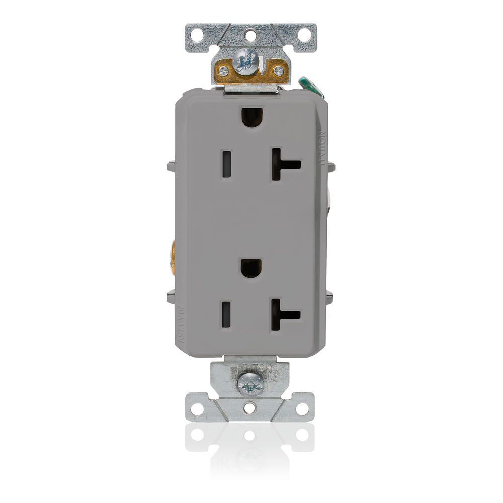 Decora Plus Duplex Receptacle Outlet, Heavy-Duty IndustrialSpecification Grade, Smooth Face, 20 Amp, 125 Volt, Side Wire, NEMA 5-20R, 2-Pole, 3-Wire, Self-Grounding - Gray
