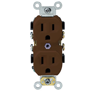 Duplex Receptacle Outlet, Commercial Specification Grade, Indented Face, 15 Amp, 125 Volt, Back or Side Wire, NEMA 5-15R, 2-Pole, 3-Wire, Self-Grounding - Brown