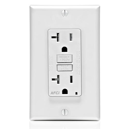 20 Amp, 125 Volt @Receptacle/Outlet, 20 Amp Feed-Through, Tamper-Resistant, AFCI Receptacle/Outlet, Monochromatic, back and side wired, nylon wallplate/faceplate, screws and self grounding clip included – White