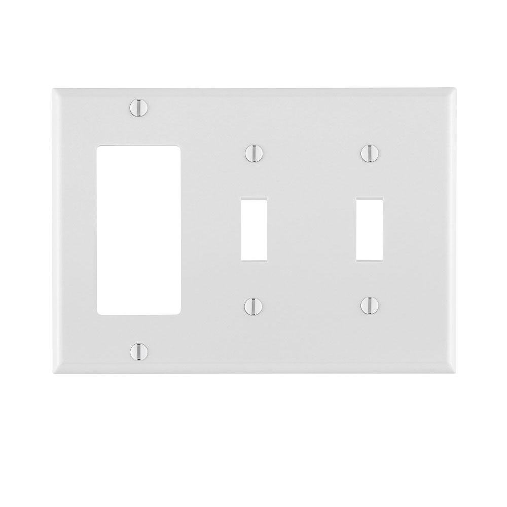LEVITON 80421-W 3GANG WALL PLATE W/ TWO TOGGLES ONE GFCI WHITE