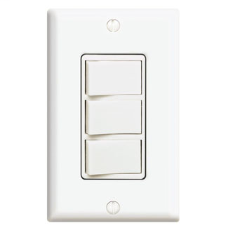 Leviton 1755-W 120 Volt 15 Amp 1-Pole White Thermoplastic Non-Grounding Triple Rocker Decorator Combination Switch
