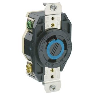 Leviton 2620 250 Volt 30 Amp 2-Pole 3-Wire NEMA L6-30R 2 Hp Black Nylon Grounding Flush Mount Locking Receptacle