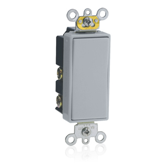15 Amp, 120/277 Volt, Decora Plus Rocker Double-Throw Ctr-OFF Momentary Contact Single-Pole AC Quiet Switch, Commercial Spec Grade, Self Grounding, Back & Side Wired, - Gray