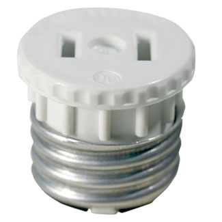 660 Watt, 125 Volt, 2-Pole, 2-Wire Lampholder to Outlet Adapter - White