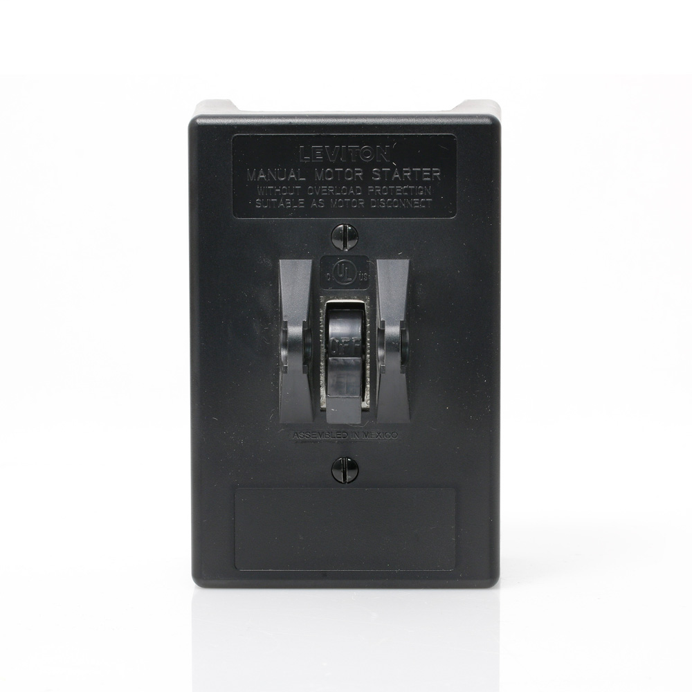 30 Amp, 600 Volt, Toggle Three-Pole AC Manual Motor Controller In Type 1 Thermoplastic Enclosure with Metal Back Plate, Industrial Grade, Grounded To Enclosure, Back & Side Wired - Black