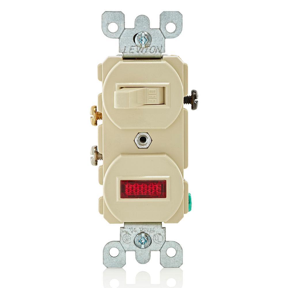 Duplex Style Single-Pole / Neon Pilot Combination Switch, Ivory