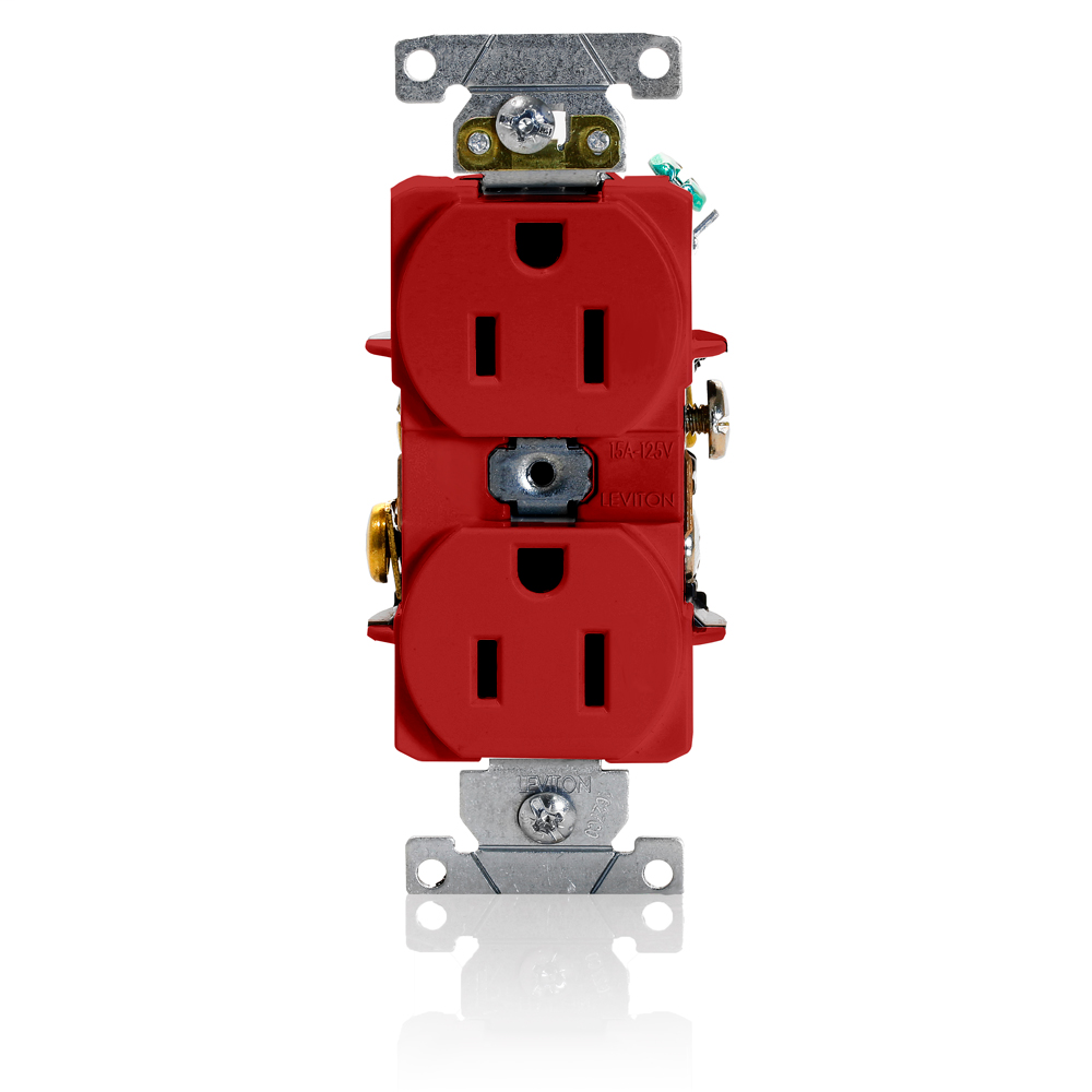 Duplex Receptacle Outlet, Heavy-Duty Industrial Specification Grade, Smooth Face, 15 Amp, 125 Volt, Back or Side Wire, NEMA 5-15R, 2-Pole, 3-Wire, Self-Grounding - Red