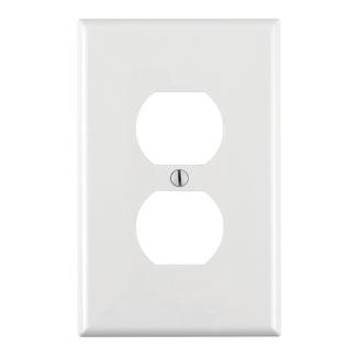 Leviton PJ8-W 1-Gang Midway Size Thermoplastic Nylon Device Mount White Duplex Device Receptacle Wallplate
