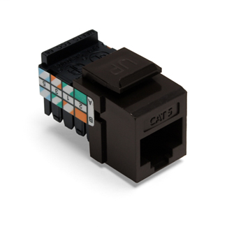 Leviton 41108-RB5 Category 5 Brown Plastic Snap-In 8-Position 8-Conductor UTP Jack Connector