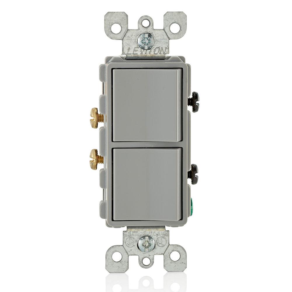 Decora Single-Pole / Single-Pole Combination Switch, Gray