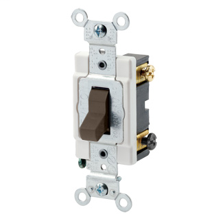 15 Amp, 120/277 Volt, Toggle 3-Way AC Quiet Switch, Commercial Spec Grade, Grounding, Back & Side Wired, - Brown