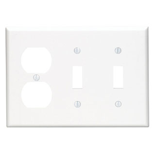3-Gang 2-Toggle 1-Duplex Device Combination Wallplate, Standard Size, Thermoplastic Nylon, Device Mount, - White